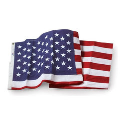 US Flag 4x6 Embroidered Cotton - Traditional American Flag Made in the USA U.S. Flag Store's Embroidered Cotton U.S. Flags are constructed out of 100% Mercerized cotton, which is made in the USA.The Mercerization process ensures that the cotton fully absorbs the rich red and blue dyes. While modern techniques are used to ensure the quality of the Embroidered Cotton flags, they are traditional in every other way, including being hand-sewn in Kansas City, Missouri. No other American flag has the same look and feel as a traditional, cotton flag. The beautifully embroidered star field and sharp attention to detail will satisfy even the most discerning patriot.