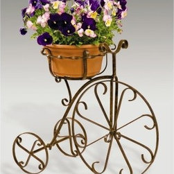 Deer Park Ironworks Fancy Bike Planter - Take your potted peeps for a ride on the Deer Park Ironworks Fancy Bike Planter. This retro-looking planter holds one 10-inch pot and will look dandy inside or outside your home. Don't worry about scratching the floor, it has fitted rubber feet to protect flooring. In the warmer months, this three-wheeled planter will look awesome on an outdoor patio area. And because it's made of heavy gauge steel and has a natural patina powder-coated finish, it can handle the outside conditions.About Deer Park Ironworks Deer Park Ironworks has a reputation as a premier wrought iron lawn and garden company. They create timeless designs with quality materials and price them at competitive rates. All of their products are made from heavy gauge steel and have a durable powder-coated finish, which are Earth-friendly since they emit zero, or near zero, volatile organic compounds. Deer Park's powder-coating finishes also produce a much thicker coating than conventional liquid coatings that sometimes run or sag. Furthermore, Deer Park's products feature a unique natural patina appearance that complements any decor or color scheme. And their decorative baskets, wall planters, and window boxes come with a fitted coco liner that is a natural product that helps with proper drainage and provides a healthy environment for your plants to grow.
