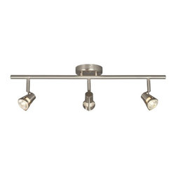 Galaxy / Excel Lighting - Three-Light Halogen Fixed Rail - 755593BN - Contemporary / modern brushed nickel 3-light directional spot light. Takes (3) 50-watt halogen MR-16 bulb(s). Bulb(s) sold separately. Dry location rated.