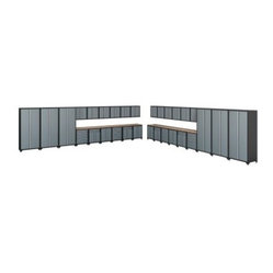 NewAge Products Pro Series Cabinetry 46 ft. System: 36 Piece Set - Grey - Stacking your junk a ...