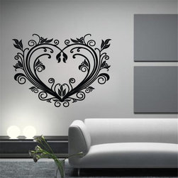 ColorfulHall Co., LTD - Love Heart With Floral Ornament Wall Art Heart Wall Decals, Black - You will find hundreds of affordable peel - and - stick wall decal designs, suitable for all kinds of tastes and every room in your house, including a children's movie theme, characters, sports, romantic, and home decor designs from country to urban chic. Different from traditional decals, vinyl wall decals is with low adhesive that allows you to reposition as often as you like without damaging the paint. Application is easy: peel offer the pre-cut elements on the design with a transfer film, and then apply it to your wall. Brighten your walls and add flair to your room is just as easy.