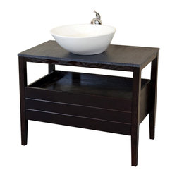 Bellaterra Home - 35.5 Inch Single Sink Vanity-Wood-Dark Mahogany - The unique design of this vanity gives a beautiful appearance while maintaining a warm modern atmosphere to your bathroom. The vanity features a unique slight oblong shape vitreous china sink, top with a Textured black burnt stone. It lives up any bathroom with this natural color and texture. Just as in all the modern models, the vanity is constructed from solid wood and comes assemble with genuine Blum soft closing drawer glide. You'll never hear another slam of a door. The legs are detailed with silver caps to accentuate the modern look, yet the finish of the cabinet is a rich dark walnut finish that gives the warmth. This is truly a beautiful piece of art in your home.