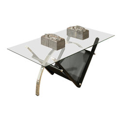 Steve Silver Furniture - Steve Silver Tribecca 3 Piece Occasional Table Set - The Tribeca 3-Pack group is a stylish occasional table collection that features distinctive curved lines and a black metal V-shaped lower shelf, providing the perfect accent to any contemporary room.