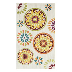 """Loloi Rugs - Loloi Rugs Isabelle Collection - Ivory / Multi, 1'-7"""" x 2'-6"""" - Both striking and practical, the boldly colored Isabelle Collection offers a scatter rug power loomed of 100% polypropylene for incredible durability and stain resistance. Ideal for kitchens, entryways, or any room that could use plenty of color. Made in Egypt."""