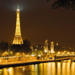 "Komar - Nuit D'Or Wall Mural - Meaning golden night, nuit d'or is a mural of paris, celebrating the famous sight of the eiffel tower at night. This mural is 8'4"" x 6' and comes as four easy to install panels. Made in Germany. Roll Coverage: 50 square feet. Paste Included."