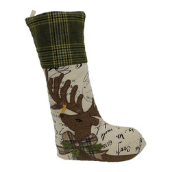 Xia Home Fashions - Reindeer With Applique Suede Collection Stocking - A majestic Christmas reindeer is embroidered on printed fabric with ribbon and green tartan accents. An enchanting linens collection! Wipe clean with damp cloth.