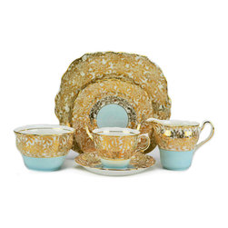 Lavish Shoestring - Consigned 4 Placements Gold Tea Set by Colclough, Vintage English 1950s - This is a vintage one-of-a-kind item.