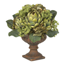 Home By QSP - Artificial Artichoke Table Centerpiece - This stunning artichoke centerpiece is one of the most fascinating table accents available. It's the wondrous array of shapes and textures which makes the Artichoke one of nature's most interesting plants, and they are perfectly captured in this centerpiece. Skillfully crafted from the finest materials, the meticulous attention to detail is instantly recognizable as the lush greenery bursts forth from the ornate planter, adding a touch of elegance to any setting.