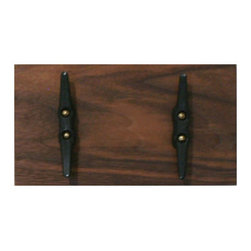PinkPianos - Walnut Boat Cleat Coat Rack with 2 Hooks - Walnut hardwood rack has beautiful deep grain that matches a variety of interiors.