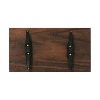 PinkPianos - Walnut Boat Cleat Coat Rack with 2 Hooks - Walnut hardwood rack has beautiful deep grain that matches a variety of interiors.