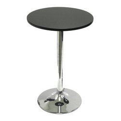 "Winsome - ""Winsome Wood Round Tea Table, Black w/Metal Leg, 20"""""" - ""New 20"""" Tea/snack table pairs nicely with our S/2 swivel chairs (item 93220) to make a comfy spot to sit and have drinks or coffee and a chat. Made of durable MDF material the table top is finished in matte black and has a chrome color leg.Dimensions (W x L x H): 19.7"""" x 19.7"""" x 29.5""""Weight: 14.5 lbs.20"""" round black table with chrome color leg is a great accent or snack tableAt 29.5"""" high, it is perfect for a cozy corner designed for drinks, snacks and coffeeThe leg is metal for stability and the top is made from durable MDF fiberboard.Ready to assemble with tools and hardwareMatch this Bistro Table with our Swivel Dining Chair for a perfect small setting"""