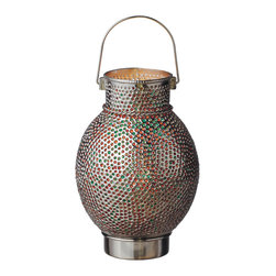 "Everybody's Ayurveda - Silver Candle Drum Lantern with Embed Amber and Red Glass - Silver Drum Candle Lantern with Green, Amber and Red Glass. Iron and Glass. Made in India. 9"" Wide x 9"" Deep x 14"" Tall. Shiny silver finish with Green, Amber and Red glass beads."