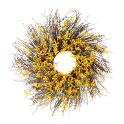 Silk Plants Direct - Silk Plants Direct Forsythia Wreath (Pack of 2) - Pack of 2. Silk Plants Direct specializes in manufacturing, design and supply of the most life-like, premium quality artificial plants, trees, flowers, arrangements, topiaries and containers for home, office and commercial use. Our Forsythia Wreath includes the following: