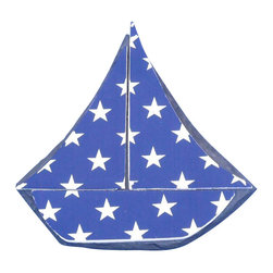 """Handcrafted Nautical Decor - Tabletop Patriotic Blue with White Stars Sailboat 7"""" - Sailboat Decoration - The Tabletop Patriotic Blue with White Stars Sailboat 7"""" is the perfect nautical decor item to put on top of your mantle, shelf or desk. Ideal for those who enjoy putting sail boat decorations in the home, this sailboat has white stars against a blue background. This design truly evokes thoughts of patriotism and symbolically uses our national flag colors to make a statement."""