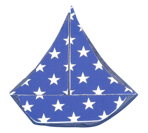 """Handcrafted Model Ships - Tabletop Patriotic Blue with White Stars Sailboat 7"""" - Sailboat Decoration - The Tabletop Patriotic Blue with White Stars Sailboat 7"""" is the perfect nautical decor item to put on top of your mantle, shelf or desk. Ideal for those who enjoy putting sail boat decorations in the home, this sailboat has white stars against a blue background. This design truly evokes thoughts of patriotism and symbolically uses our national flag colors to make a statement."""