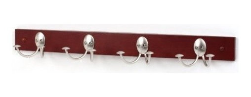 Spectrum Diversified Designs - Straford Wood Rack With 4 Double Hooks, Satin Nickel - Upgrade your storage options with the Stratford 4-Double Hook Wood Rack. This wall mounted piece creates a functional and tasteful way to hang and store your coats, hats, purses and more. Crafted from rustic wood and sturdy steel.