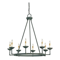 Currey and Company - Ormewood Chandelier - Appealing in its simplicity and form, this chandelier shows off the skill of the blacksmith with its graceful curves and detailing. The hand finishing process used on this chandelier lends an air of depth and richness not achieved by less time-consuming methods.