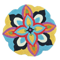 Loloi Rugs - Loloi Rugs Azalea Blue-Multi Transitional Hand Tufted Floral Rug X-R003LMBB40-ZA - The Azalea Collection celebrates desirable round rugs in the most updated colors and patterns for today's fashionable interiors. Available in a broad range of styles, Azalea has a distinctive look that is achieved by its meticulously hand-tufted, wool construction. Made in India, the cut-and-loop textured rounds come in a varied palette that includes spring and fall hues, brights and everyday, familiar tones, too. These fresh rounds will add a dramatic wow-factor to any interior.