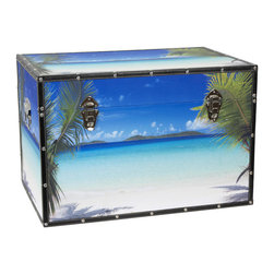 Oriental Furniture - Ocean Beach Trunk - Experience the beauty of an idyllic island paradise all year round with this splendid beach trunk! Breezy palm fronds frame the inviting tropical waters, bringing sun and sand to your home. Built to last, this photorealistic scene is printed on durable natural canvas and reinforced by riveted faux leather edges. Sturdy kiln fired wood construction ensures that this chest is both sturdy and surprisingly lightweight, and a pair of handles allow you to move it easily while redecorating. You can relax knowing that your treasures will be safe inside the spacious, fabric lined interior. Additional conveniences include an inconspicuous interior arm that holds the lid when you need the trunk open, and a pair of external closures that keep it shut tight when you don't. This chest is sure to bring some tropical splendor to any room!