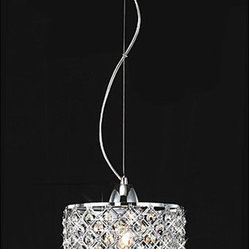 Chrome/Crystal 1-light Mini Pendant Round Chandelier