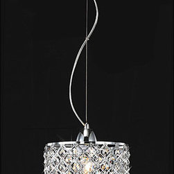 Chrome/Crystal 1-light Mini Pendant Round Chandelier - This would add the perfect elegant touch over a bathroom vanity.