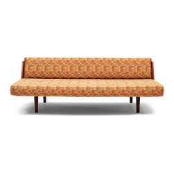 Vintage Danish Modern Daybed - This piano sized sofa is the type of staple piece that you can build a room around. If you're moving into a new place, or redecorating from scratch, start with this as a base and work from there. It is made from high quality wood and features a retractable back that folds up so the sofa can double as a bed.