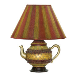 Sterling Industries - Sterling Industries Tolbert Teapot Traditional Table Lamp X-287-19 - The teapot shaped base of this Sterling Industries table lamp adds whimsy and elegance. From the Tolbert Collection, this traditional table lamp also features a striped diffuser with colors that compliment the base. The teapot base features medallion accents, ruffle trim, stripes, harlequin patterning and more.