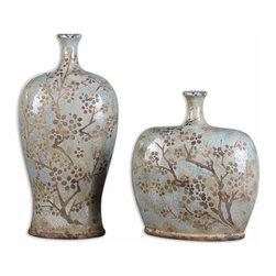 Silver Nest - Selma Vases - Set of 2 - Distressed, crackled sea foam blue ceramic with antique khaki undertones. Sizes: Sm-11x12x5, Lg-9x18x5