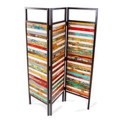 EcoChic Lifestyles - Luna Sea Reclaimed-Wood Room Divider - Crazy color comes together in the high energy of the Luna Sea 3 Panel Room Divider. Three hinged sections are framed in reclaimed bridge iron. The narrow strips of reclaimed fishing boat wood are chosen with a painter's eye and assembled by hand. For privacy or decoration, this room divider does not disappoint.