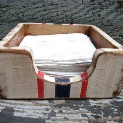 Grain Sack Stripe Rustic Distressed Napkin Holder -