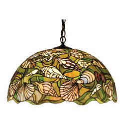 """Meyda Tiffany - 20""""W Seashell Pendant - Ocean Green sea grass winds its way through a collage of seashells in Sand Beige, Shell Pink and Bronze against a Sea Green ground in this Meyda Tiffany original stained glass shade reminiscent of shell covered shores. Handcrafted of art glass, the shade is paired with a chain and canopy, hand finished in Mahogany Bronze."""