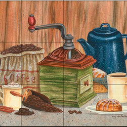 The Tile Mural Store (USA) - Tile Mural - Perked Up - Mt - Kitchen Backsplash Ideas - This beautiful artwork by Mary Lou Troutman has been digitally reproduced for tiles and depicts a coffee grinder with some breakfast.  Our decorative tiles of images of coffee and coffee themed tiles are perfect to use for your kitchen backsplash wall tile. A coffee tile mural adds interest and fun to your kitchen wall tile area and makes a fantastic kitchen backsplash idea. Pictures of coffee cups on tiles is timeless and these coffee decorative tiles blend with any decor. Your kitchen tile project will come to life with a tile mural featuring coffee themed tiles.