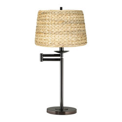 """Lamps Plus - Transitional Woven Seagrass Drum Shade Bronze Swing Arm Desk Lamp - Bronze swing arm desk lamp. Woven seagrass drum shade. Maximum 100 watt or equivalent bulb (not included). 25"""" high. Shade is 10 1/2"""" across the top 11"""" across the bottom 8 1/2"""" high.  Bronze swing arm desk lamp.  Woven seagrass drum shade.  Maximum 100 watt or equivalent bulb (not included).  25"""" high.  Shade is 10 1/2"""" across the top 11"""" across the bottom 8 1/2"""" high."""