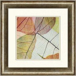 """Paragon Decor - Colorful Leaves II Artwork - Brighten up those boring walls with this colorful piece, """"Colorful Leaves II"""" which contrasts passionate crimson, violate, and orange tones with soft royal blues and subtle muted mustard yellows. Overlaying these colors allows the leaves in the piece to create diversifications in hue, creating an entire spectrum of chroma. Each piece includes a white matte and an antiqued bevel-edged frame. It can be displayed alone, but looks best with its sister piece, """"Colorful Leaves I."""" This piece measures 31 inches wide, 2 inches deep, and 31 inches high."""