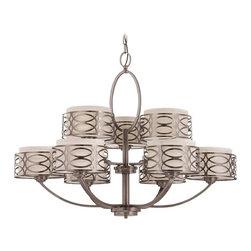 Modern Chandelier with Natural / Beige Shade Cage in Hazel Bronze Finish -