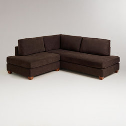 World Market - Chocolate Wyatt Sectional Sofa - Our big, comfy and welcoming Chocolate Wyatt Sectional Sofa has plenty of room for family and friends. Covered in a plush, durable microfiber fabric, this sofa delivers softness and simplicity that's ideal for everyday lounging.