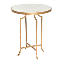 Kathy Kuo Home - Fiji Hollywood Regency Gold Leaf Marble Round End Table - Set of 2 - Our romantic, marble side table is exquisitely shaped and reflects your flare for the dramatic. The svelte style fits in small spaces. The delicately designed antique gold leaf base contrasts with the white marble round top.