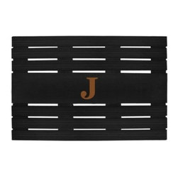 Creative Accents Teak Mat with Optional Monogram - Beautiful and eco-friendly, the Nedia Enterprises Teak Mat with Optional Monogram is crafted from gorgeous teak with a black finish. Its raised, slatted design diverts moisture, helping to keep your home clean. Mold- and mildew-resistant, this mat is also weather-resistant and easy to clean with a damp cloth.