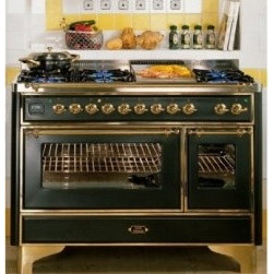 "Ilve - Retro Kitchen - Ilve Majestic Series UM120FMPIX 48"" Freestanding Dual Fuel Range with 6 Burners, 2.8 cu. ft. Primary Oven Capacity, Convection Oven, Warming Drawer, & Chrome Trim"