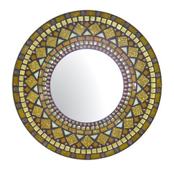 Heirloom Collection Mosaic Mirrors - Custom glass mosaic mirror in yellow, gold, mandarin orange, and copper color scheme.  Materials used include stained glass, copper metal beads, and six different varieties of glass mosaic tile.  Custom sizes and color schemes available;  price varies upon size.