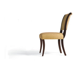 Baker Furniture - Side Chair - Ideal for tables of all shapes, this unique dining chair is inspired by 1940s French Deco, but proportioned for more contemporary use. Whether upholstered in simple fabric for a sleek look, or luxurious fabric for a more formal tone, the chair's gentle curves are warm and inviting.