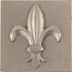 None - Fleur De Lis Pewter 4-inch Accent Tiles (Set of 4) - Give your home an updated look with these aluminum accent tiles. A pewter finish gives these fleur de lis design tiles an elegant appeal for your home decor.