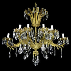 Chandeliers - Bronze and crystal chandelier from the 1950's.  This piece was hand made and finished in Spain, and the crystals are all Italian.