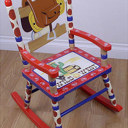 None - Kids' Cowboy Rocking Chair - Your little partners can saddle up to this cowboy-themed hand-painted rocking chair for kids. This 15.5-inch chair is made from solid wood for a sturdy piece built to last in any childs bedroom, playroom or other favorite play space.
