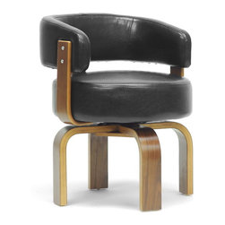 """Wholesale Interiors - Fortson Walnut and Black Modern Accent Chair - Our handy Fortson Designer Accent Chair makes itself at home wherever you need it, serving you well as an office chair, dining room chair, or living room chair. This Chinese-made contemporary chair swivels 360 degrees and features a walnut effect plywood frame with a black faux leather seat and foam cushioning. The Fortson Chair requires assembly and should be wiped clean with a damp cloth. Dimension: 22.5""""W x 22.375""""D x 28""""H, seat dimension: 17.5""""W x 19.5""""D x 19""""H, arm height: 26.5""""."""