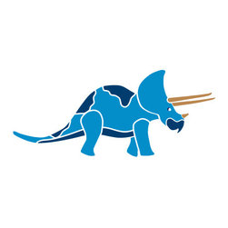 My Wonderful Walls - Triceratops Dinosaur Stencil for Painting - - 2-piece triceratops wall stencil