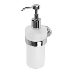 Gedy - Wall Mounted Frosted Glass Soap Dispenser - Save counter space by mounting this sleek frosted glass soap dispenser on your bathroom wall. The polished chrome brass mounting and pump will add shine to your sink area. This high-quality soap dispenser is Italian designed and ultramodern.