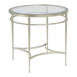 EuroLux Home - New Side Table  Consigned Antique Patina Finish Glass - Product Details