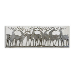 Uttermost - Herd Of Deer Wall Art - This decorative wall art is made by using laser cut metal finished in a lightly antiqued silver leaf with an oatmeal linen background.