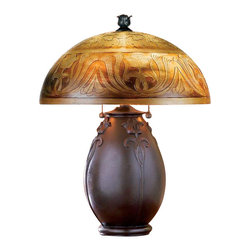 Quoizel - Quoizel QJ6781TR Glenhaven Transitional Table Lamp - This organic look features an etched glass shade in a classic art nouveau design, which is echoed in the sculpting on the base.